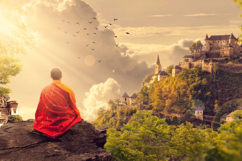 Buddhist monk meditating, Buddhist beliefs
