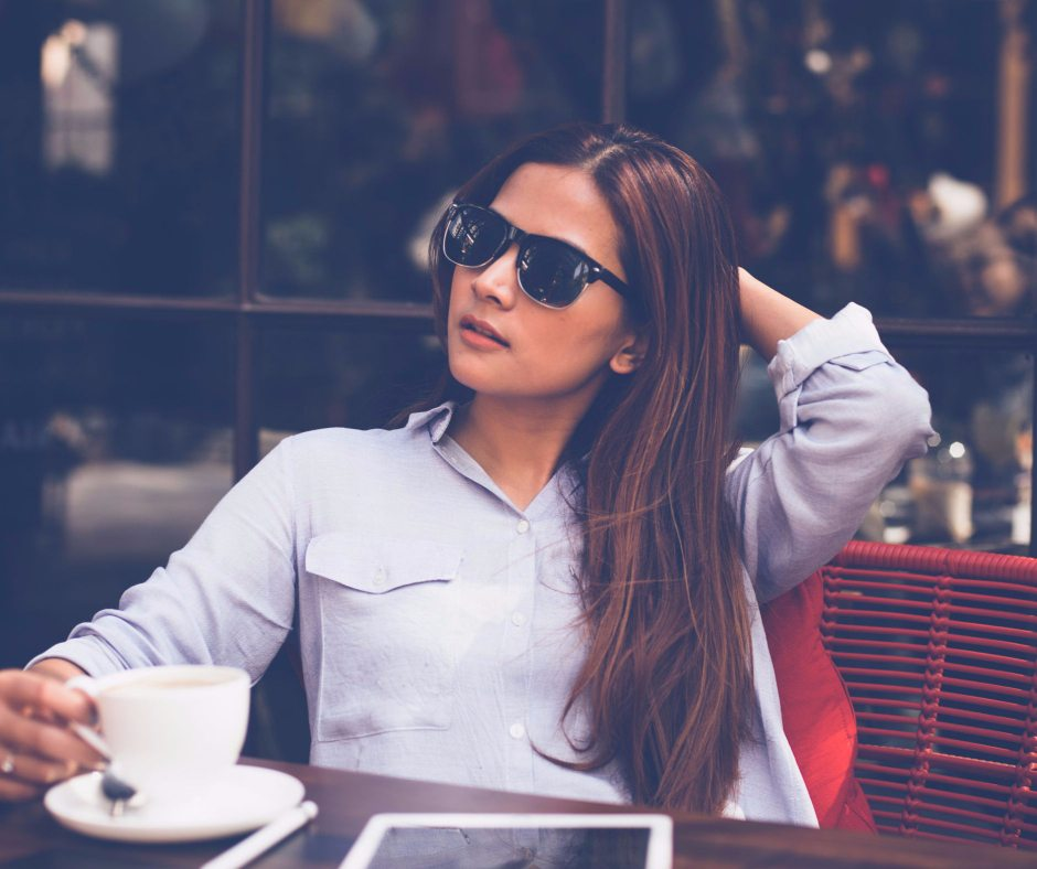 Woman at cafe with characteristics of a strong woman