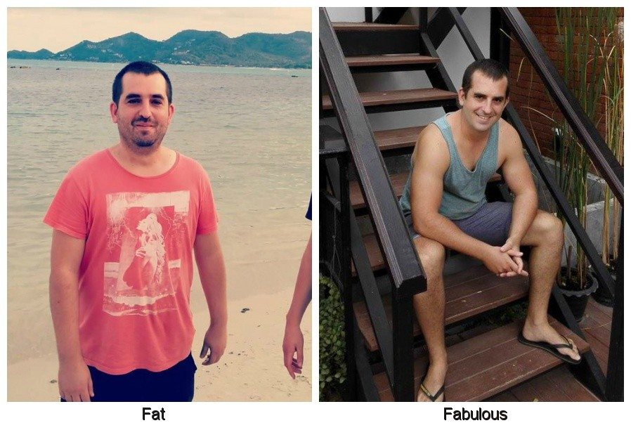 photo of overweight man on left, and his weight loss photo on the right