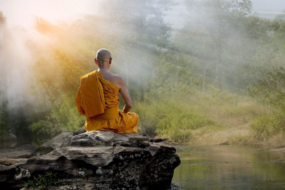 Monk meditating on zen quotes, zen philosophy